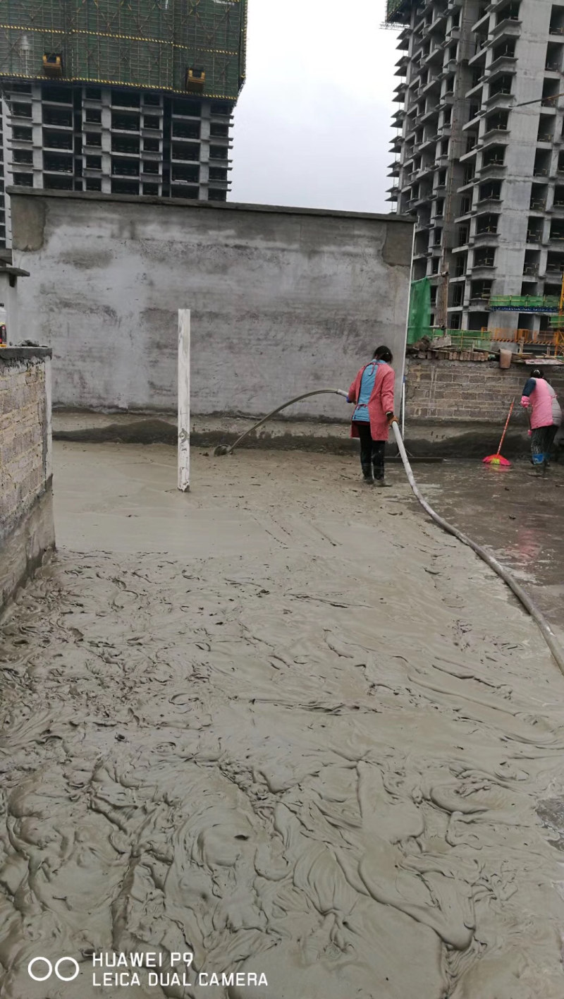 Lightweight concrete pouring site